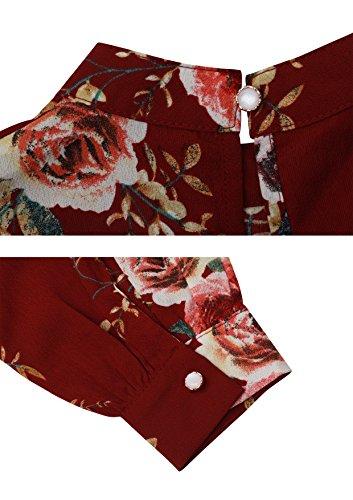 Abollria Tunika Damen Elegant Bluse mit Blumen Musterprint Luftig Leichte Sommer Bluse Lamgarm Chic Perfekt für Herbst und Frühling Weinrot