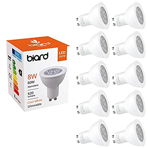 Biard® - Lot de 10 Ampoules LED Culot GU10 SPOT 8W Équivalent 60W Blanc Froid Dimmables Idéal remplacement halogènes 25.000 heures