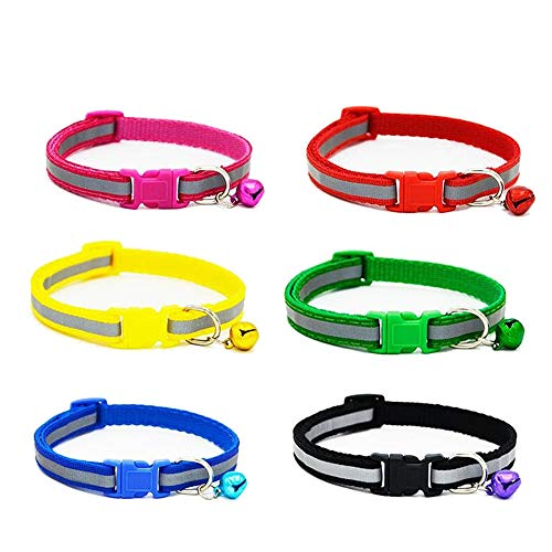 OTENGD Cute Puppy Collar Personalized Dog Collars Collection Seatbelts oder Leashes Woven Nylon Snap Closure Buckle-6 Bright Colors for Boy and Girl Dogs - Woven-snap