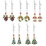 MJARTORIA Damen Mädchen Weihnachtsschmuck Ohrringe Ohrstecker Silber Farbe mit Rot Beads Anhänger Charms 5 Stück (Grün)