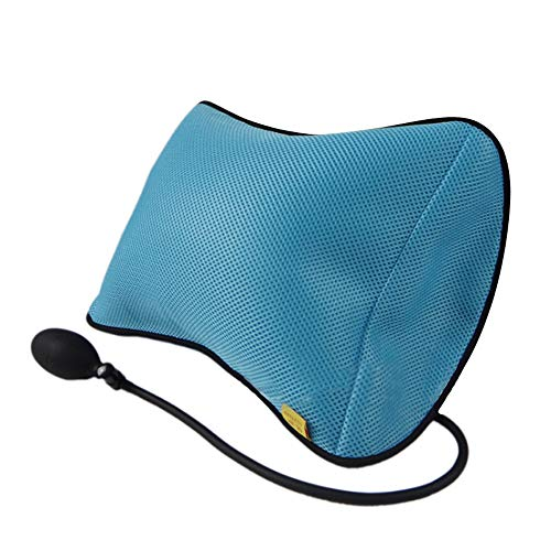 HIGGER 1Pcs Supporto Lombare Cuscino Cuscini gonfiabili Supporto Posteriore Cuscino Portatile con Pompa Cuscino Rimovibile a Rete (Blu)