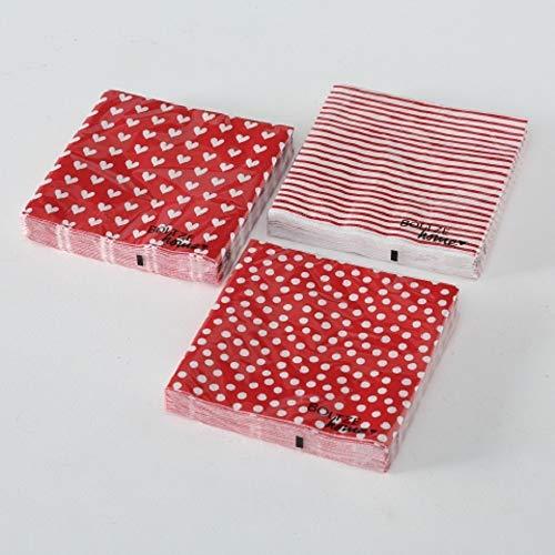 Servietten (3er Set / 60Stück) 3-lagig 33x33cm rot Herzen Punkte Streifen - 3 Rote Herzen