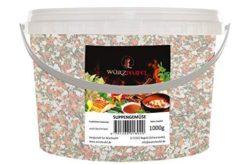 Suppengemüse Gemüse getrocknet, geschnitten 6x6mm Hergestellt in Deutschland. PE-Eimer 1300g. (1,3 KG)