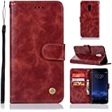 Vivo Xplay 6 Case, Danallc Vivo Xplay 6 Leather Wallet Case Book Design With Flip Cover And Stand [Credit Card Slot] Cover Case Compatible With Vivo Xplay 6 - Wine Red
