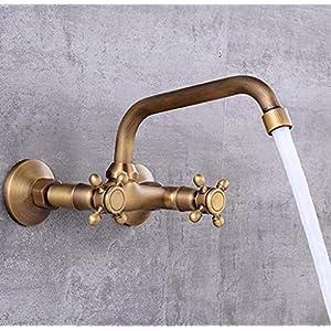 ETH Mezclador de Lavabo Grifo Montado en la Pared Fregadero del baño Oculto Grifo Cepillado Retro Latón Antiquefaucet Golden Widespread Montado en la Pared Durable (Color : Brass)