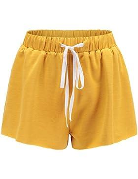 Targogo Pantaloncini Donna Estivi Eleganti Casual Vacanza Spiaggia Shorts Moda Puro Colore Coulisse Larghi Abbigliamento...