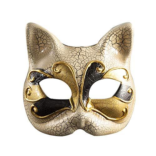 FUPOA Kinder Maskerade Maske Vintage Checkered Musical Party Karneval Katze Maske Halloween, (Cats Musical Kostüm Machen)