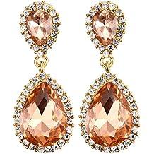 Vnox Jewelry Arancione Strass Lega placcata oro orecchini pendenti Acqua per le donne, base