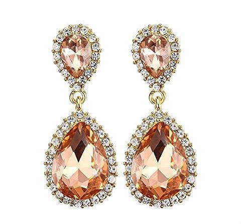 Vnox Jewelry Orange Rhinestone Water Drop Dangle Earring for Women,Gold