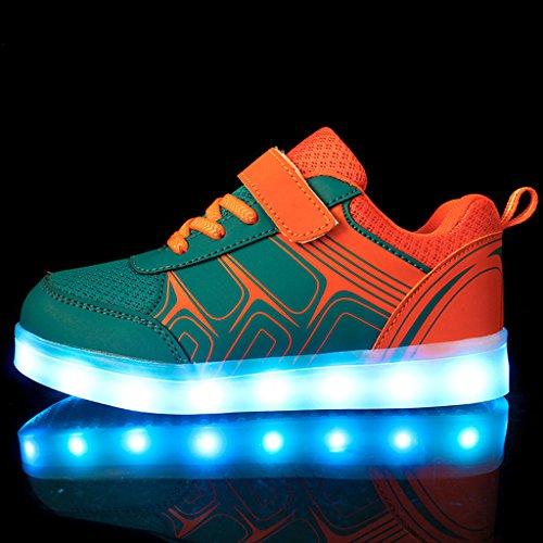 DoGeek LED Schuhe Kinder Damen 7 Farbe USB Aufladen Leuchtend Sportschuhe Led Kinder Farbwechsel Sneaker Turnschuhe für Herren Damen Orange
