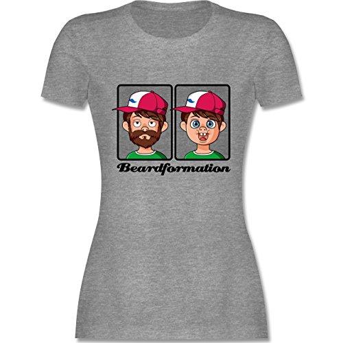 Statement Shirts - Beardformation - tailliertes Premium T-Shirt mit Rundhalsausschnitt für Damen Grau Meliert