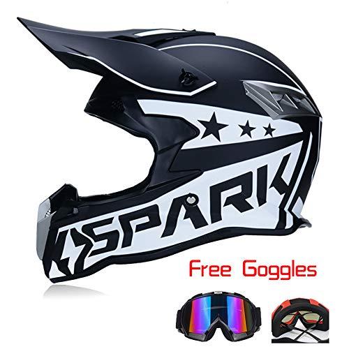 MX Motorradhelm Erwachsener Motocross Helm Old School ATV Helm D.O.T Zertifiziert Leichter Atmungsaktiver Cross Country Helm Matt Schwarz,White,XL