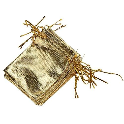 Qingsun Lot de 10pcs Pochette à Bijoux Petit Sac Cadeau à Cordon Coulissant Sachet - Couleur Doré