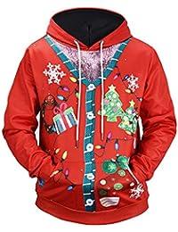LILICAT☺☺❋ Moda Hombre Impresión 3D Navidad Navidad Elk Santa Claus Árbol de Navidad con Capucha Suéter de Manga Larga Top Pullover Sudadera con Capucha de Manga Larga Tops Blusa