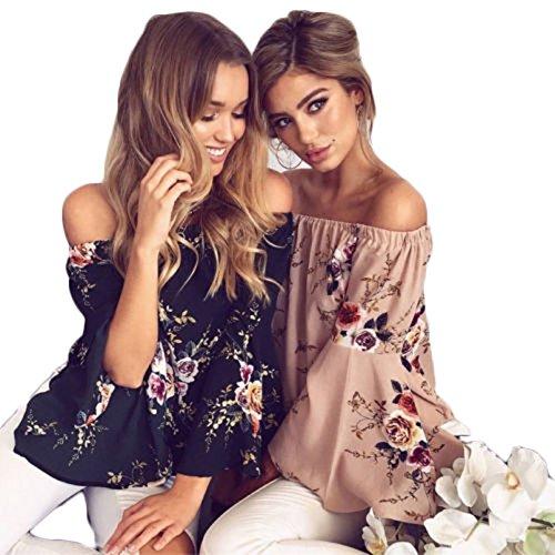 BriskyM Off Shoulder Blouse, Femmes Mode hors de lépaule Blouse imprimée florale T-shirt Casual Tops Bleu