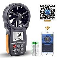 BTMETER Digital Anemometer Handheld BT-100 Wind Speed Meter Gauge, Accurately Measure Wind Temperature Speed CFM with MAX/MIN/AVG, Backlight LCD for Shooting, HVAC, Drone Flying