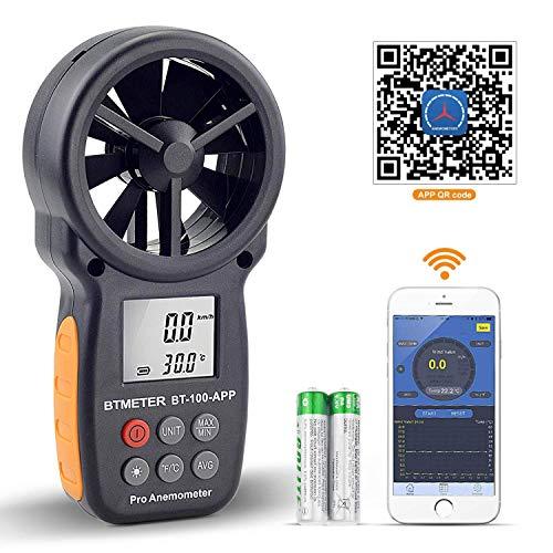 BTMETER Anemómetro Digital de Velocidad del Viento de Mano, Medidor...