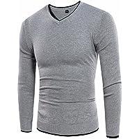 Fácil Otoño y Invierno 's Hombres Jersey Con Cuello En V Sudadera fina Jersey, color gris, tamaño medium