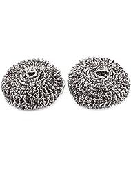 De acero inoxidable en espiral de acero almohadilla de limpieza herramienta de la cacerola Depurador ademe 2 piezas