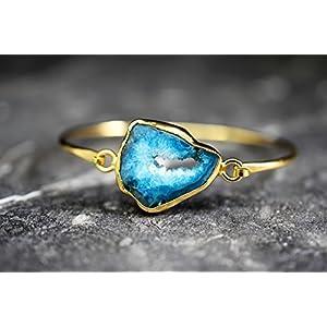 Achat Druzy Blau Vergoldeter Armreif