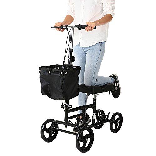 Carevas Knee Walker Knie-Walker faltbare Knie-Roller mit Basket & Dual Bremsen Alternative Heavy-Duty 300LB-Kapazität CE/FDA/FSC genehmigt