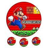 Tortenaufleger Geburtstag Tortenbild Zuckerbild Oblate Motiv: Super Mario (Zuckerpapier)
