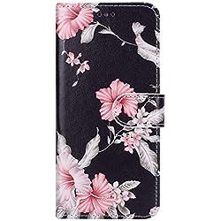 Funda Huawei P8 Lite ,Surakey Marco de Cuero de la PU Flip Protectora de Cuerpo Completo Case Cover Slim Case de Estilo Billetera Carcasa Libro de Cuero para Huawei P8 Lite ,Rododendro