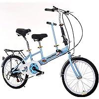 LETFF Coche de Bicicleta Doble Plegable para Padres e Hijos Bicicleta de 20 Pulgadas para bebés