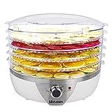 Homdox Dörrgerät Dörrautomat 5 Etagen, Einstellbare Temperatur, BPA Frei, 500 Watt, Dehydrator für Fleisch Obst Gemüse Pilzen Kräutern, Inklusive Rezeptheft