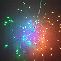 BulzEU Led Firework Copper Wire String Fairy Lights Hanging Starburst Lights Christmas Sparkle Lights Twinkle Lights 8 Modes Dimmable With Remote Control,decoration For Outdoor Home Patio Wedding Party (Colourful)