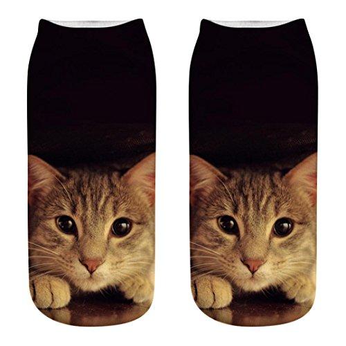 Sneaker Socken Unisex,LUCKDE Sportsocken Aus Baumwolle Thermal Socken Mädchen Socken Lässige Socken 3D Printed Cartoon Katze (1 Paar, K)