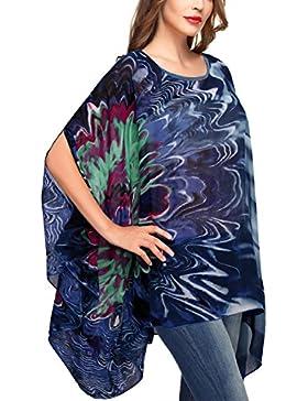 DJT Mujeres Estampado Floral Chiffon Caftan Poncho Tunic Top