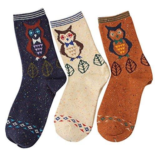 Calcetines de Algodón de Mujeres-3 Pares, LILICAT® Calcetines Casuales de Diseño de Dibujos Animados Lindo, Calcetines de Lana Suave de Moda, Medias y calcetines para adultos (Búho - 3 P)