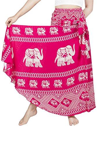 Lofbaz Damen Bohemien Hüfte Langer Rock Süße Hippie Style Blumen - Elephant 9 Rosa - OS - Plus Rosa Mutterschaft Kleid Größe