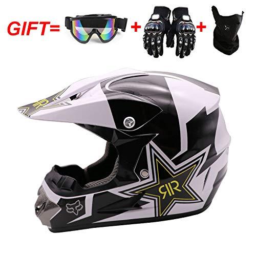WLT Casco integrale da motocross, protezione di sicurezza per caschi da moto fuoristrada, casco con guanti e maschera, XL58~59 cm, 125-B-23
