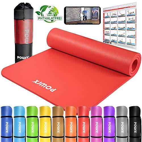 POWRX 400079 Tapis pour Yoga/Pilates/Gymnastique Rouge 190 x 100 x 1,5 cm