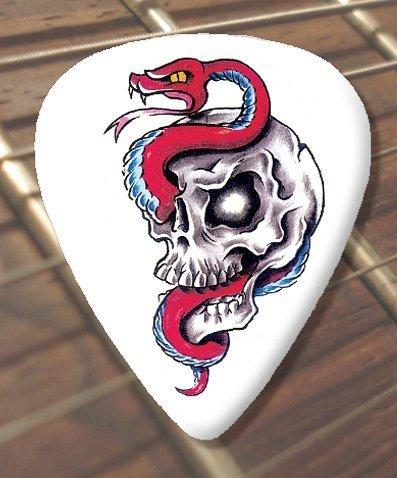 10 x Tattoo Plektrons Snake Skull (D88) (Schwer 1.00mm) (Tattoos Skull Snake)