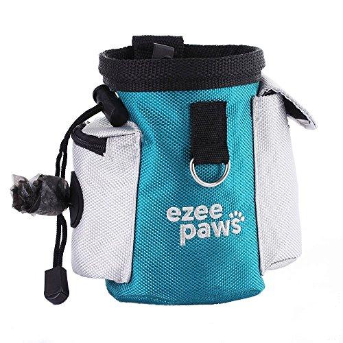 Ezee paws, borsa per biscotti per cani, per training per cagnolini, con porta sacchetti per cane e dispensatore,con clip in vita e con 1rotolo di sacchetti di rifiuti