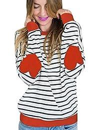 Koly Mujer Moda Camiseta Manga larga O-cuello rayas Corazón Conformado Empalme Blouse Tops otoño invierno Ropa Básico T-Shirt…