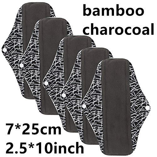 LUCKME Bambus Reusable Sanitary Napkins Pads, Washable Tuch Menstrual Pads für Frauen vermeiden Leaks Odors und Staining 5PCS,E - Natürliche Sanitary Pads