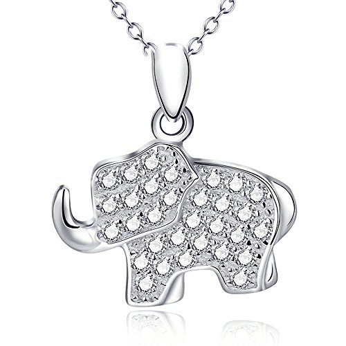 FENGYU Damen Halsketten Elefant Anhänger Mimose Tier 925 Sterling Silber Ästhetisch Persönlichkeit Dame Party Raffinesse Einfach Süß Wild Kostüm Schmuck,OneColor-OneSize