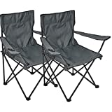 Silla plegable, 2 unidades, silla de camping con soporte para bebidas en reposabrazos, gris