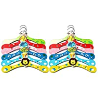 Cozywind Kids Clothes Hanger Non-Slip Wooden Set of 12 Cartoon Baby Clothes Hanger Animal Motifs, Multicolored
