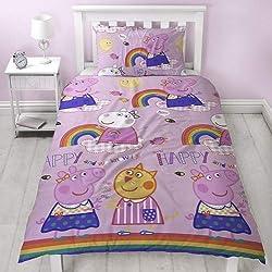Peppa Pig Amigos Funda de edredón con Funda de Almohada–Dos Cara Reversible Hooray Rainbow diseño, Microfibra, Rosa, Solo