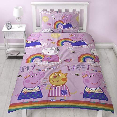Peppa Pig–Friends Copripiumino con Federa di Due Lati reversibili Hooray Rainbow Design, in Microfibra, Rosa, Singolo