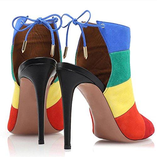 ... L@YC Damen High Heels Schuhe Suede Leder Süßigkeiten Sandalen Fine Mit  Banded Sandalen A ...