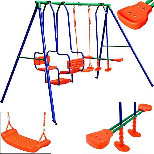 *Deuba® Schaukelgerüst mit ✔ Schaukelgondel , ✔ Schaukelwippe, ✔ Schaukel ✔ max. ~ 250kg Gesamtbelastung ✔ inkl. Montagematerial & Bodenanker Kinderschaukel Spielgerüst*