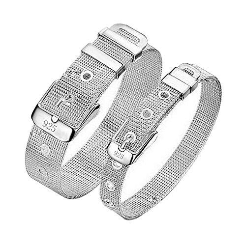 Hosaire 1x Armbänder Charm Fashion Netz Silber Armband Silber für Damen-Mädchen mit Kristallen,Silber,Small