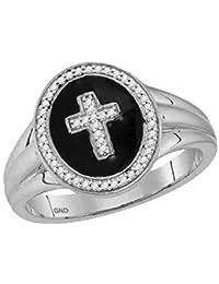 Pour homme en or blanc 10 ct Diamant rond Croix Crucifix Mode Bague 1 6 c019c8f13f61