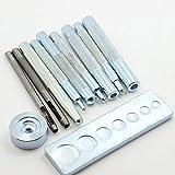 11Pcs Die Punch Hole Snap Rivet Button Setter Base Kit pour DIY LeatherCraft Tool